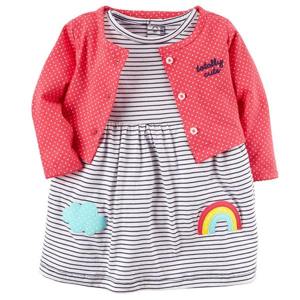 美國 Carter\'\'\'\'s - 嬰幼兒春夏外套洋裝包屁衣組-可愛彩虹
