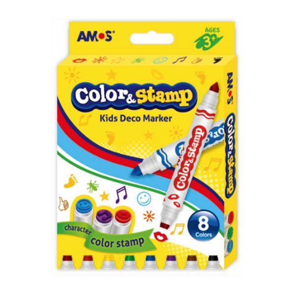 韓國 AMOS - 8色可水洗印章彩色筆