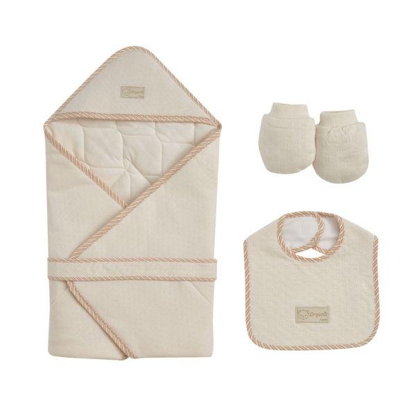 日本 Combi - 包巾禮盒(有機棉)-四季經典系列-米色 (包巾+圍兜+手套)