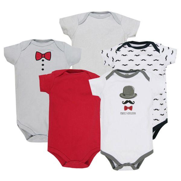 美國 luvable friends - 嬰幼兒短袖包屁衣5件組-小鬍鬚灰色衣 (0-3M)