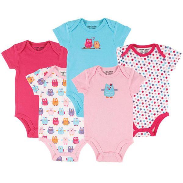 美國 luvable friends - 嬰幼兒短袖包屁衣5件組-小花貓頭鷹 (0-3M)