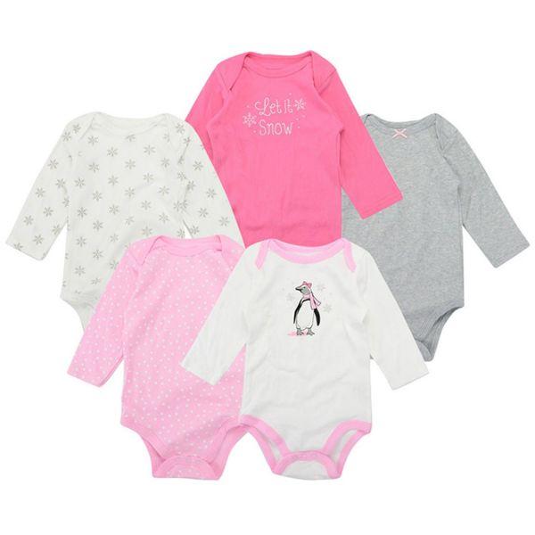 美國 luvable friends - 嬰幼兒長袖包屁衣5件組-雪花企鵝 (0-3M)