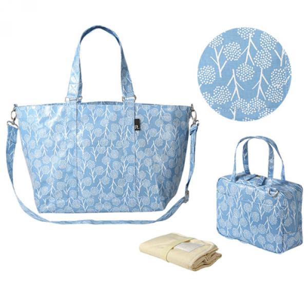 ROOTOTE-防潑水大容量人氣2 way媽媽包(附小包、尿布墊)-粉藍蒲公英
