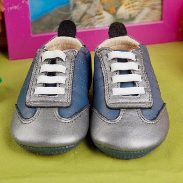 澳洲 Old Soles-真皮跑步鞋-灰藍+銀