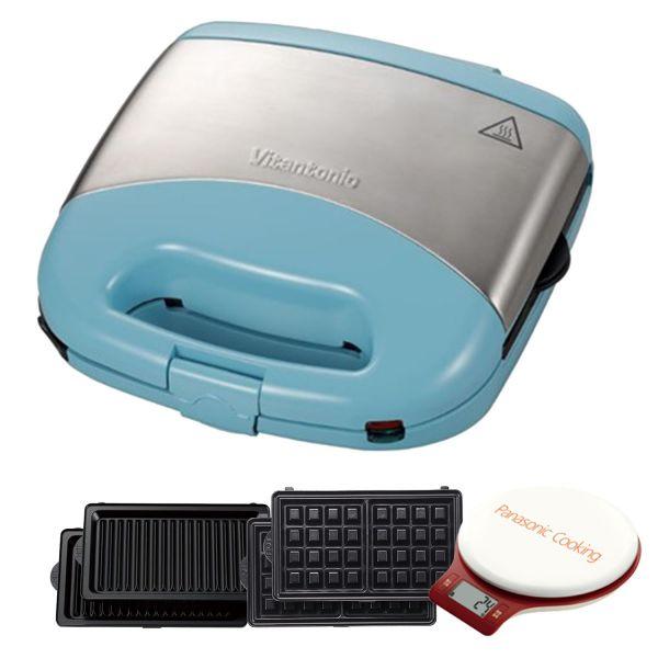 Vitantonio - 鬆餅機-蒂芬妮藍限定版(內附方型鬆餅+帕里尼) 附電子式食物料理秤-VWH-33B+SD-SP1501