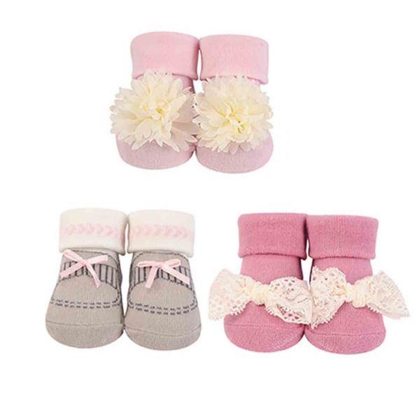 美國 luvable friends - 嬰兒襪/寶寶襪/初生襪 3入組-米白花朵 (0-9M)