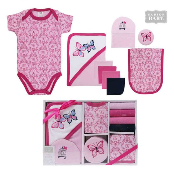 美國 luvable friends - 嬰幼兒包屁衣與長褲9入禮盒組-粉色蝴蝶 (0-3M)