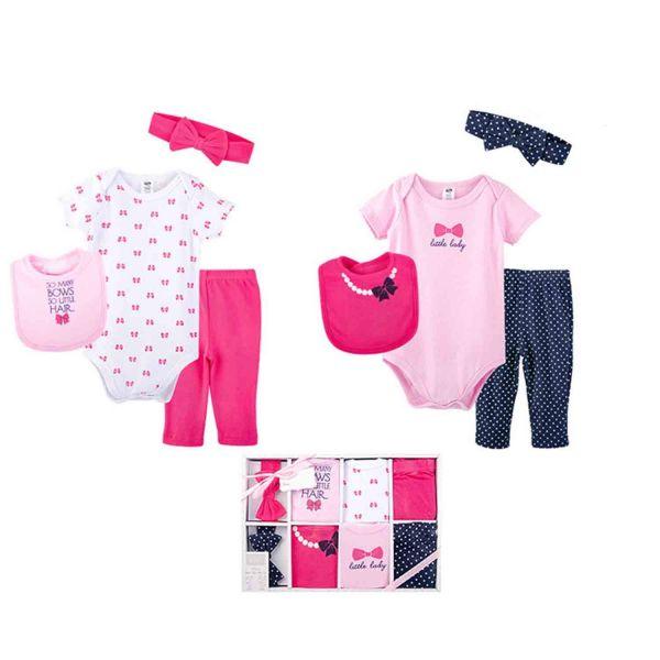 美國 luvable friends - 嬰幼兒包屁衣與長褲最佳送禮8入禮盒組-桃粉女孩 (0-6M)