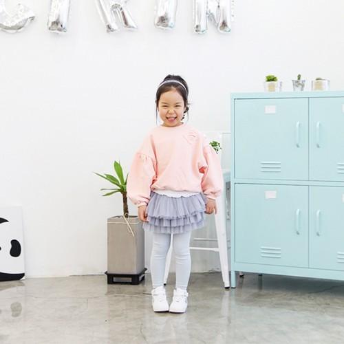 韓國 Cocogirin-紗裙假兩件式內搭褲-灰色