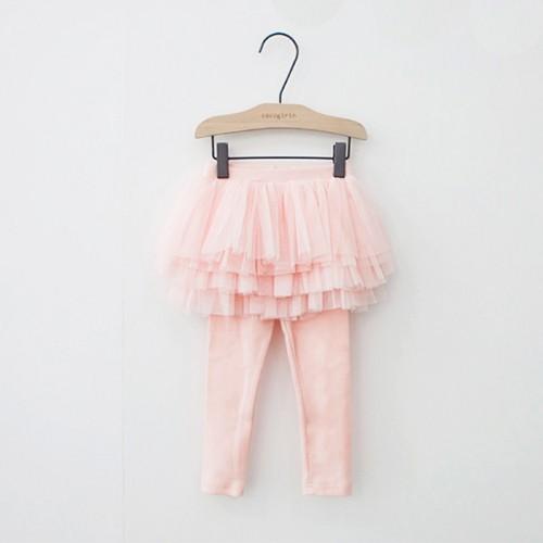 韓國 Cocogirin-紗裙假兩件式內搭褲-粉紅色