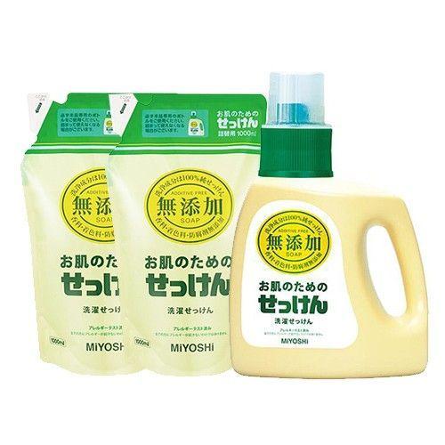 日本 MIYOSHI 無添加 - 洗衣精-1瓶+2補充包組-1.2L+1Lx2