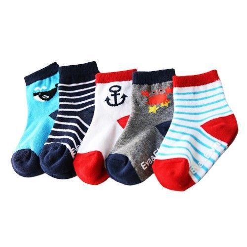 韓國 Vaenait Baby-海洋短襪-深藍條紋 (L[14-16cm ])
