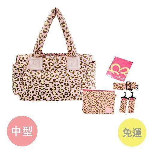 HanaBene 花花班尼-經典極輕量-空氣包/媽媽包中型側背-粉豹紋-送五件組