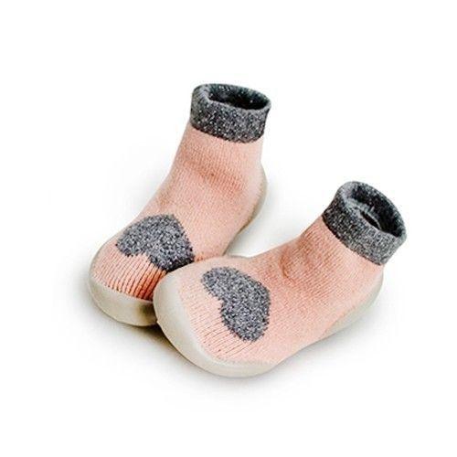 法國 collegien-法國手工室內鞋-粉紅愛心(羊毛款)