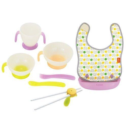 日本 Combi-新圍兜學習餐具組 x 學習筷子組-新圍兜學習餐具組x1+學習筷子組-綠色(含盒)x1
