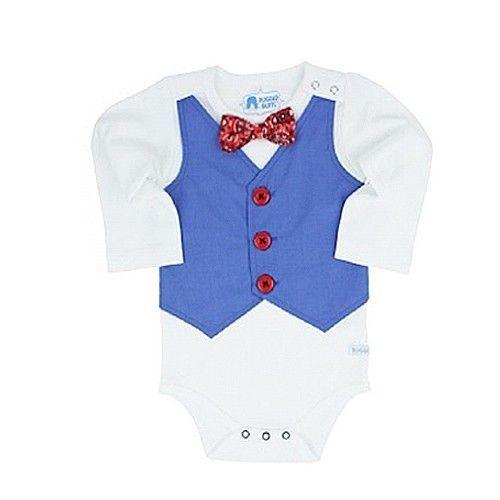 美國 RuffleButts-長袖包屁衣-藍西裝背心