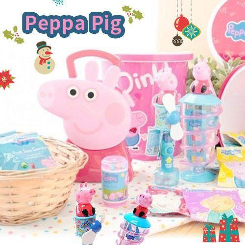【佩佩豬歡樂零食】手提箱寶盒/ 五連包餅乾/ 造型手提盒 / 旋風吸管杯