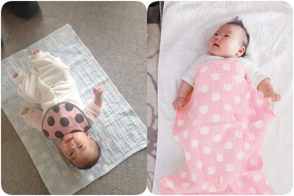 日本桃雪 紗布口水巾/方巾/嬰兒被