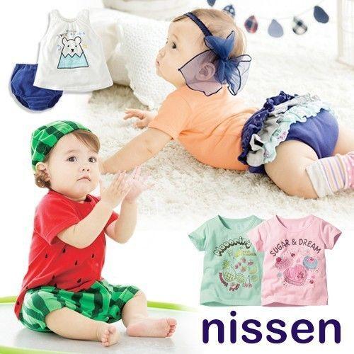 【日本 Nissen】天竺棉造型連身衣/短袖上衣/彈性褲