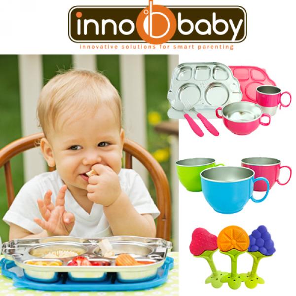 《美國 innobaby 不鏽鋼餐具》車車餐盤組 /  不鏽鋼餐具  / 固齒器