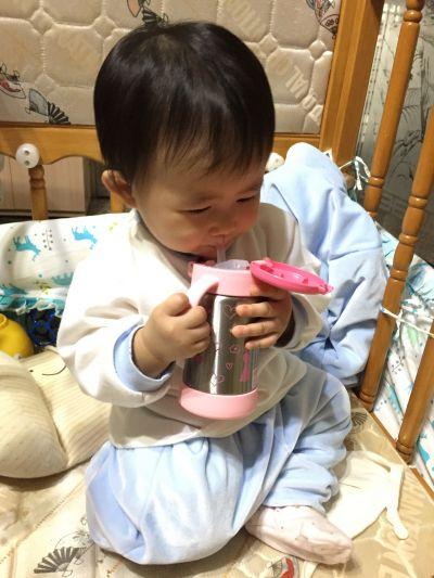 日本 Richell 利其爾 - TLI 兒童雙握把不鏽鋼吸管保溫杯-薇拉兔-粉色-1 + 1 實用組 [7個月起] by Wei Ling  Chen