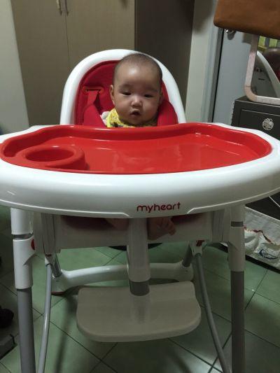 myheart - 折疊式安全兒童餐椅-天空藍 by 小悅媽咪