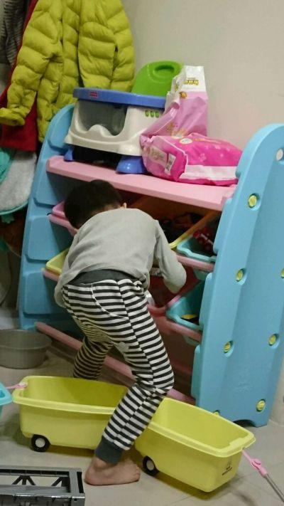WOOHOO - 兒童玩具收納櫃-四層寬版-藍側板-含大小收納盒 by 杯杯媽
