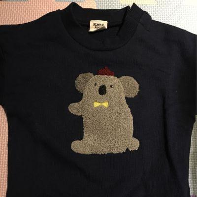 akachan honpo - 幼兒刺繡長袖運動服-熊-象牙色 by yuchen
