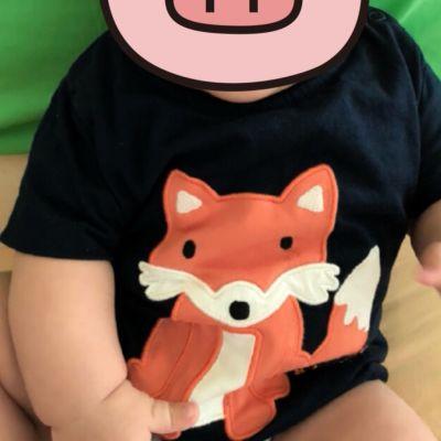 英國 JoJo Maman BeBe - 嬰幼兒短袖純棉上衣單入組-淘氣虎寶寶 by 許嘉修