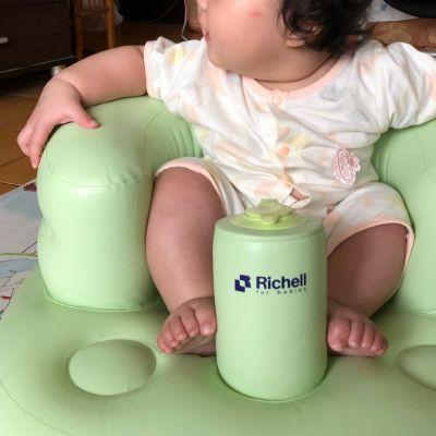 日本 Richell 利其爾 - 充氣式多功能椅-內藏式打氣泵補-綠色 (7M~24M) by 惠雅