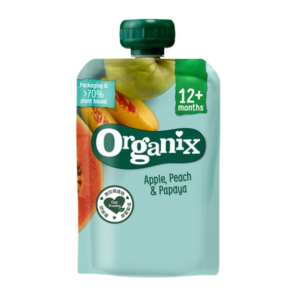 英國Organix 水果纖泥-蘋果蜜桃木瓜