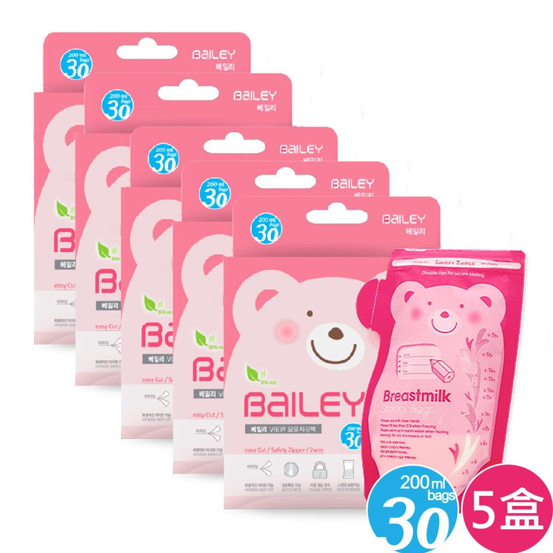 韓國 BAILEY 貝睿 感溫母乳儲存袋-壺嘴型-超值 5 盒組 (30入)-200ml-共150入