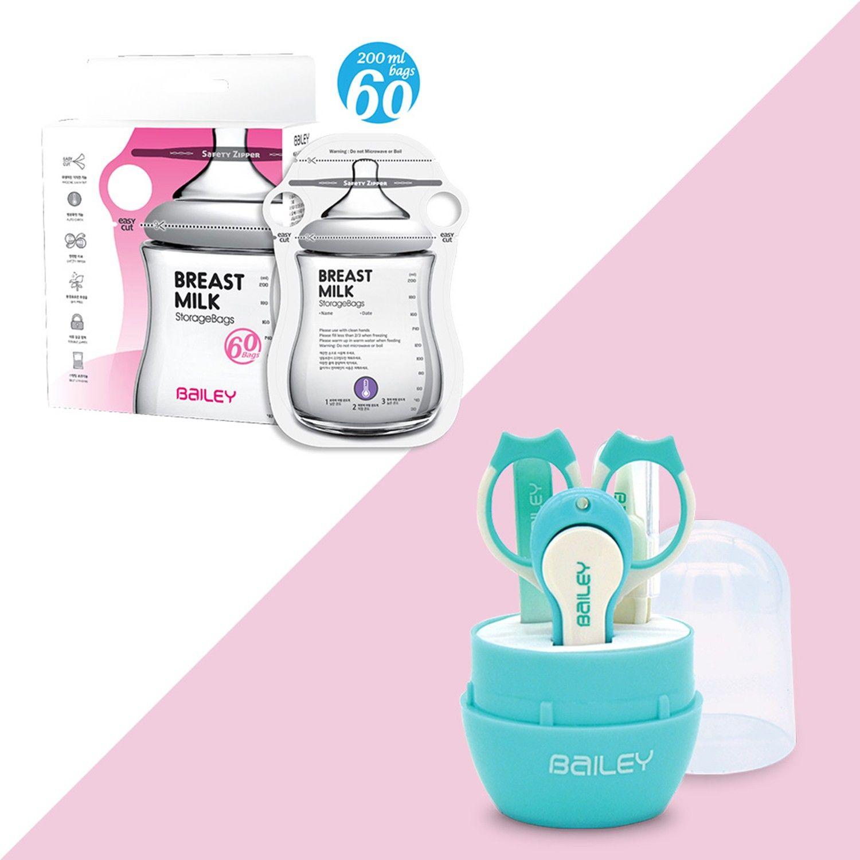 韓國 BAILEY 貝睿 感溫母乳儲存袋-新手媽媽實用組-指孔型-60入-200mlx1+寶寶安全指甲剪-實用 4 件組-水藍色x1