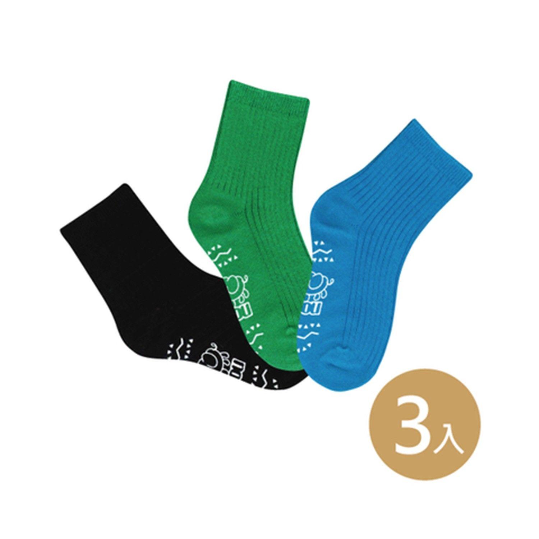 貝寶萊卡義式對目柔棉止滑彩虹短襪-3色各1雙(藍/綠/黑) (9-12cm)