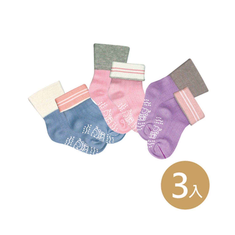 貝寶萊卡義式對目柔棉止滑寬口短襪-3色各1雙(紫/粉/藍) (9-12cm)