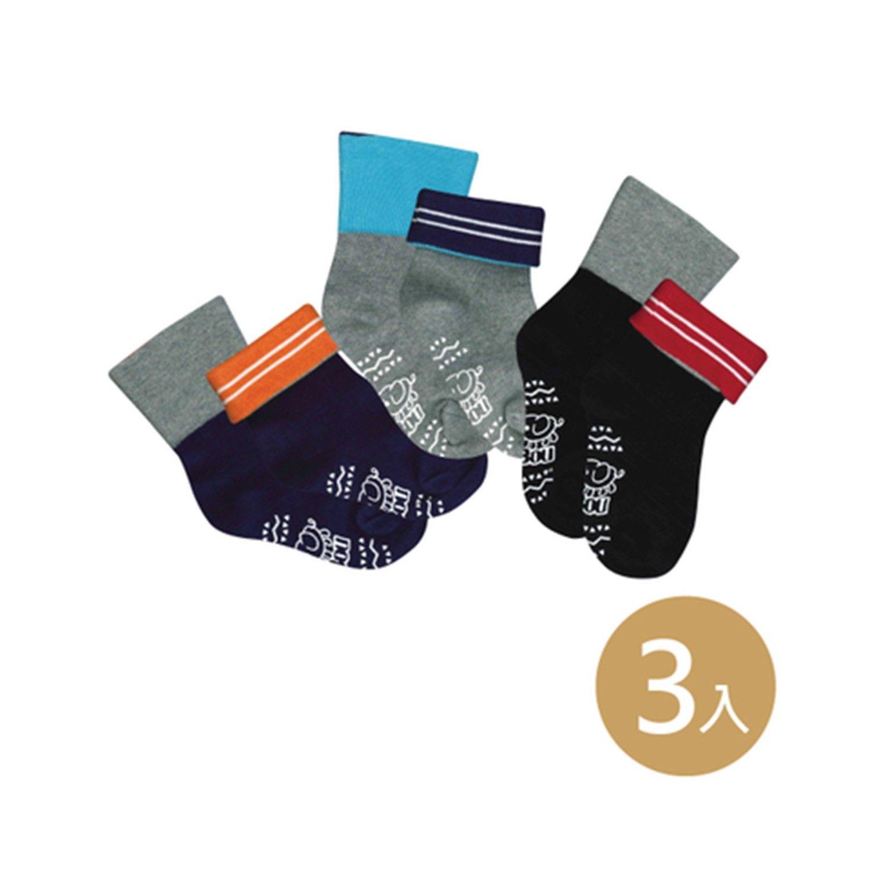 貝寶萊卡義式對目柔棉止滑寬口短襪-3色各1雙(黑/丈青/灰) (9-12cm)