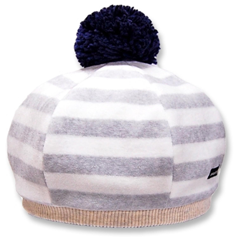 日本製可愛冬帽-小童款-貝蕾帽_灰白條紋 (M(50-52cm))