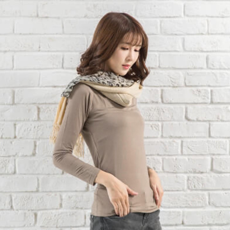 TENCEL日本吸濕發熱纖維保暖衣-女圓領-咖啡 (M)