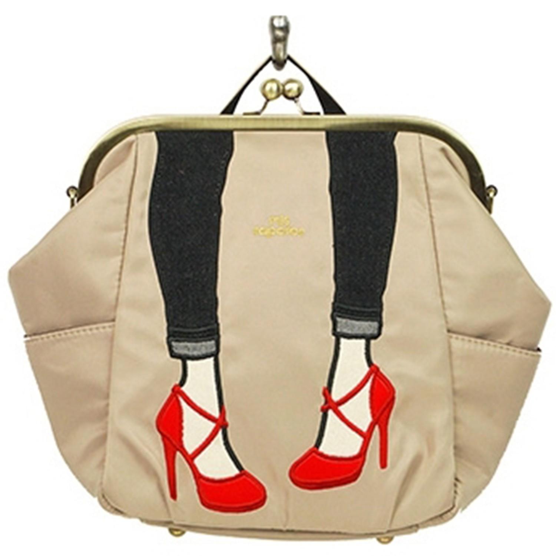 mis zapatos - 3way高跟鞋口金包(尼龍)-BE米色 (27*22*13cm)