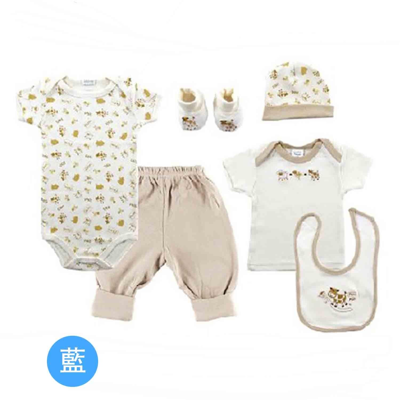 美國 Luvable Friends - 嬰幼兒包屁衣褲帽襪6入禮盒組-藍色長頸鹿 (0-3M)