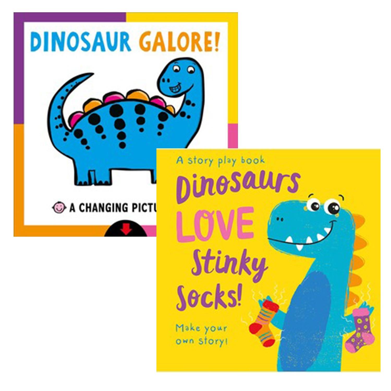 【合購組】小恐龍愛臭襪襪(拼圖配對書)+恐龍大集合(圖片變換書)