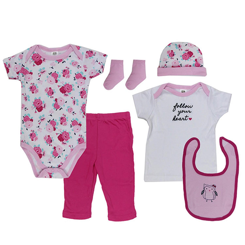 美國 Luvable Friends - 嬰幼兒包屁衣與長褲6入禮盒組-小花朵 (0-3M)