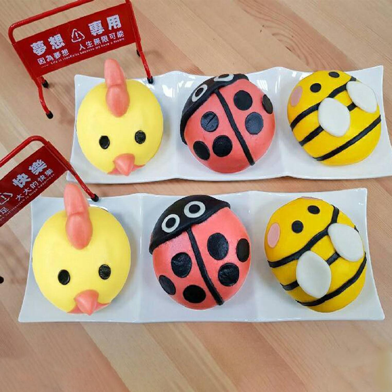 草原昆蟲組-(6入/盒)-黃雞(紅豆)*2 紅瓢蟲(花生)*2 蜜蜂(奶黃)*2-65g±5%