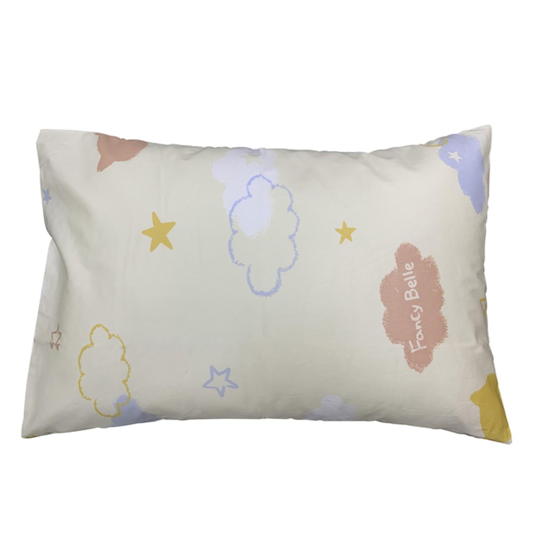 義大利Fancy Belle純棉兒童枕套--1入-貓咪雲朵-白