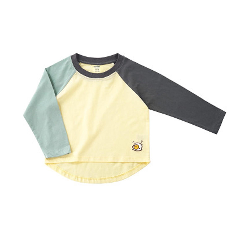 培根蛋吐司撞色長袖T恤-藍色 (100cm)