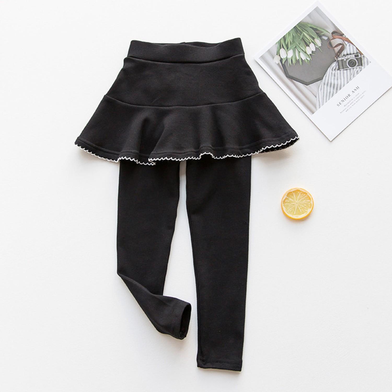內搭褲裙-花邊裙擺-黑色 (100cm)