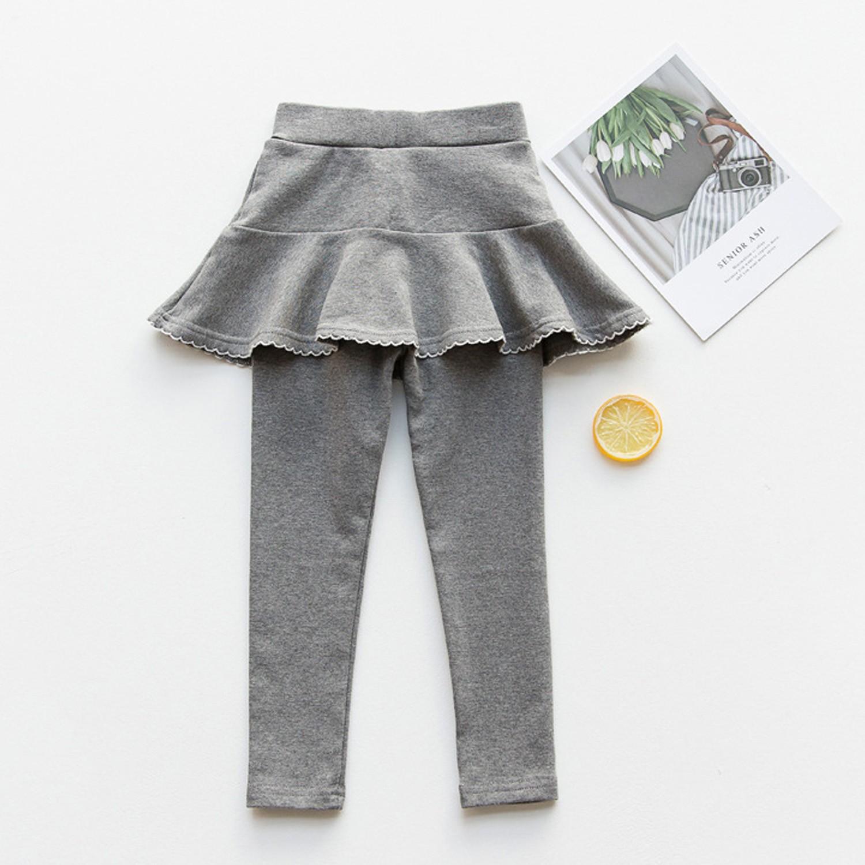 內搭褲裙-花邊裙擺-灰色 (100cm)