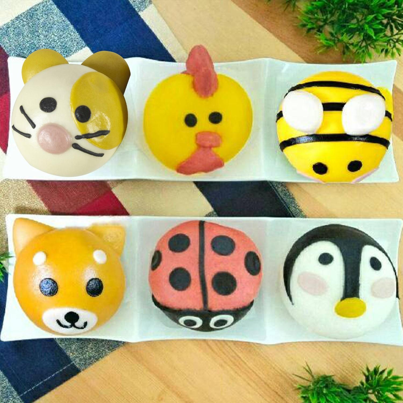 新手嘗鮮組-(6入/盒)-黃雞(紅豆) 蜜蜂(奶黃) 紅瓢蟲(花生) 企鵝(芝麻) 黃金鼠(奶油綠豆沙) 柴犬(地瓜起司)-65g±5%