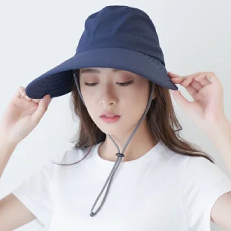 UPF50+多功能淑女護頸遮陽帽-深藍