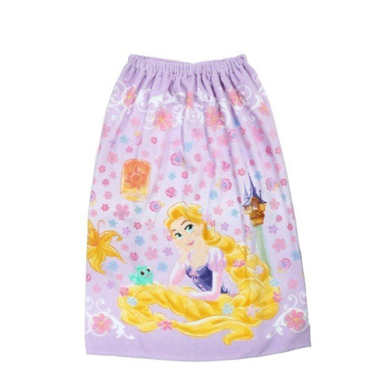 純棉海灘/游泳浴巾/浴袍 (附釦)-長髮公主花園-粉紫 (長80cm(國小中年級以上))